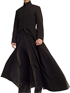 Men Matrix Neo Keanu Reeves Gothic Steampunk Costume Black Cotton Trench Coat