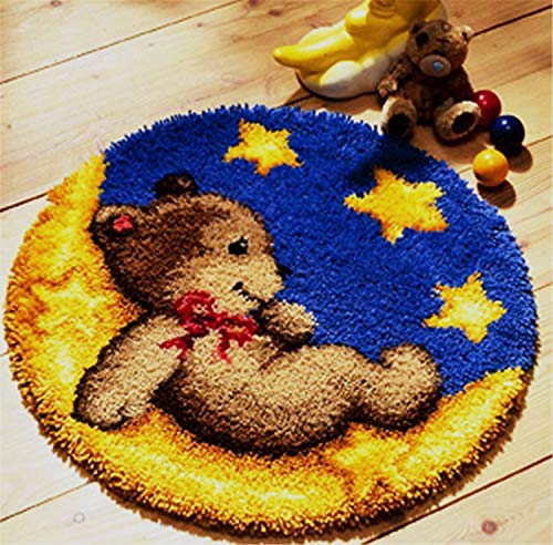 Latch Hook Kits Rug Cushion Crochet Kits for Home Decor, Bear On Moon, 50 X 50 cm (ZD-01)
