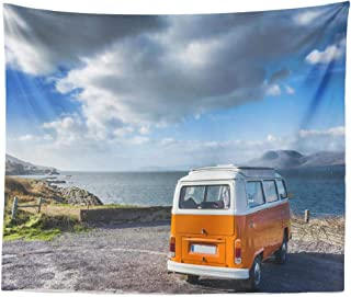 Lshtar Decorative Tapestry November Vintage Camper Wild Way Bus Camper Camping Vintage Volkswagen Wild Beautiful Wall Hanging Tapestry Polyester 80 L X 60 W for Bedroom Living Room