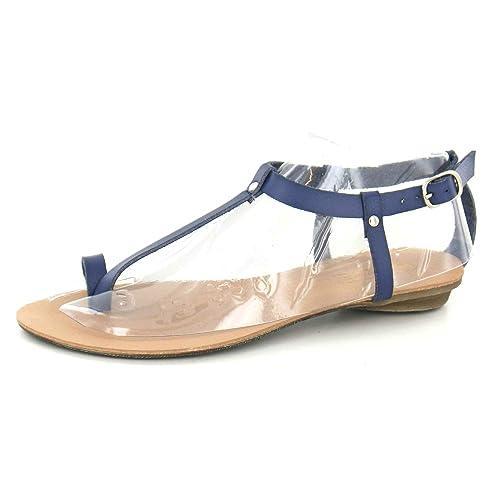 a0131bdeb26fac Spot On Ladies Flat Toeloop Sandal Ankle Strap