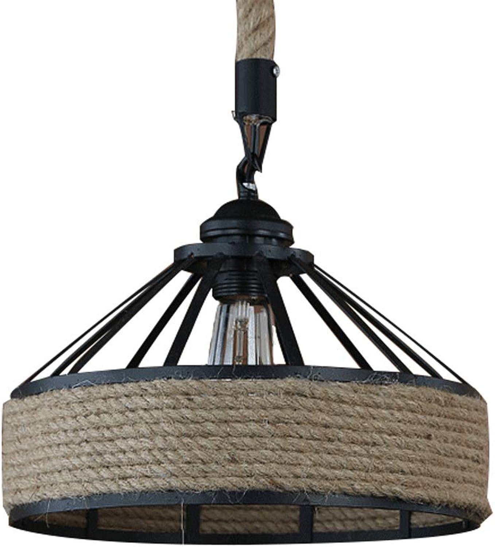 NWLAMP Luminaire Lampe Suspendue Vintage Industriel Noir, Lampe De Plafond Décoratif, Loft Suspension Luminaire, Lustre Plafonnier Pour Resturant Bar Kitchen Dining Hall (Couleur   Hemp rope-M)