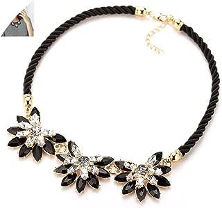 zzhx Western Style Multi Layer Weave Rhinestone Flower Water Drop Necklace Jewelry Statement