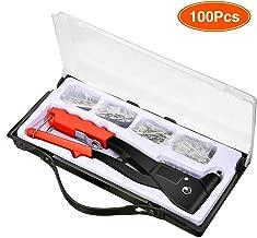 Audew Upgraded Rivet Gun Kit with 100-Piece Rivets Heavy Duty Hand Riveter Set Professional Hand Repair Tools Riveter for Automotive Railway Duct Work