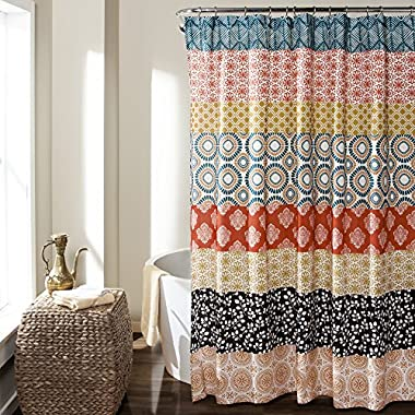 Lush Decor 16T000209 Bohemian Stripe Shower Curtain, 72  x 72 , Turquoise/Orange