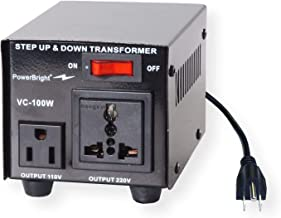 PowerBright Step Up & Down Transformer, Power ON/Off Switch, Can be Used in 110 Volt Countries and 220 Volt Countries, Convert from 220-240 Volt to 110-120 Volt & from 110-120 Volt to 220-240 (100W)