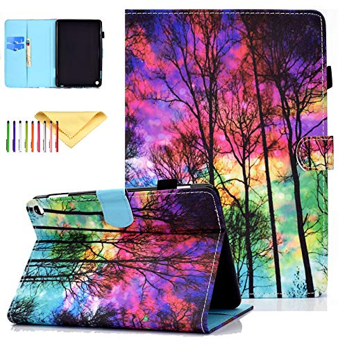 Cookk 8 inch Fire 2020 Case 10th Gen with Pencil Holder, PU Leather Skin with Card Slots Auto Sleep/Wake Stand Smart Covers for All-New Kindle Fire HD 8 Tablet and Fire HD 8 Plus, Forest