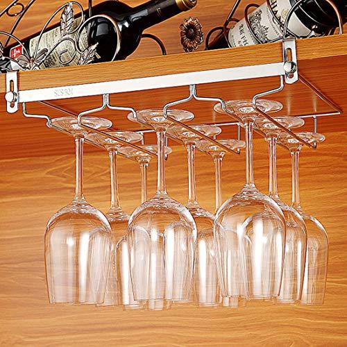 Tosbess Portabicchieri/porta calici - supporto con 3 binari per 6-9 Bicchiere di vino - Mantieni I bicchieri asciutti - a sospensione o a parete, cromato,34 ×24 × 4,5 cm