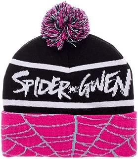 Bioworld Spiderman Spider Gwen Cuff Pom Beanie Winter Hat Black