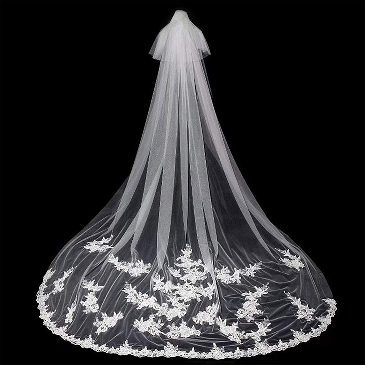 2 Tier Bridal Veils Lace Applique Edge Cathedral Long Wedding Ivory Veil with Comb Soft Tulle Hair Accessories for Bride