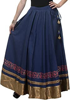 NIKA Women's Cotton Hand Block Printed & Gota Work Long Skirt by Kaanchie Nanggia (KNA-2025_Dark Blue_Freesize)