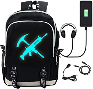 Game Luminous Backpack with USB Charging Port, Unisex Fashion College Bookbag Daypack Travel Backpack (BLACK)