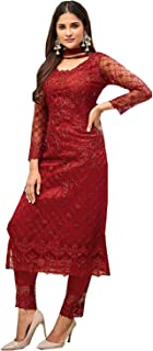 Fancy Lifestyle Girl's Net Soft Silk Inner Semi-Stitched Dress Material (Red, 48)
