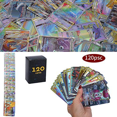 120 Pezzi Pokemon Carte, Pokemon Carta Iniziale, GX Mega Gioco di Carte, 115 GX+5 Mega