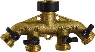 PLG Brass Garden Hose 4 Way Splitter, Tap Connector with shutoff Valve