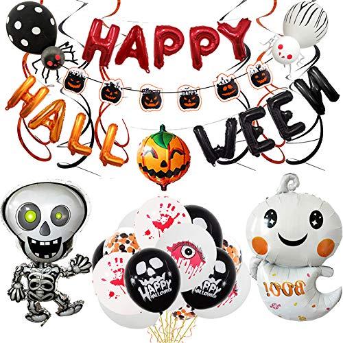 DSZZ Health Kit di Forniture per Decorazioni per Feste di Halloween, Palloncini in Lattice Foil Coriandoli Palloncino 3D per Happy Halloween Banner Party,01