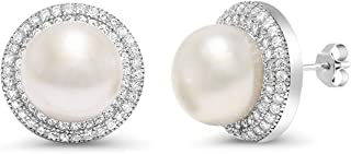 925 Sterling Silver 9MM Cultured Freshwater Pearl Button Stud Earrings