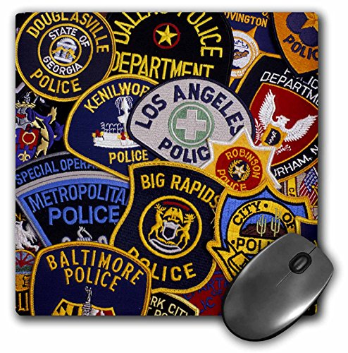 3dRose LLC 8 x 8 x 0.25 Inches Mouse Pad, Us Police Shoulder Badges David R. Frazier (mp_97657_1)