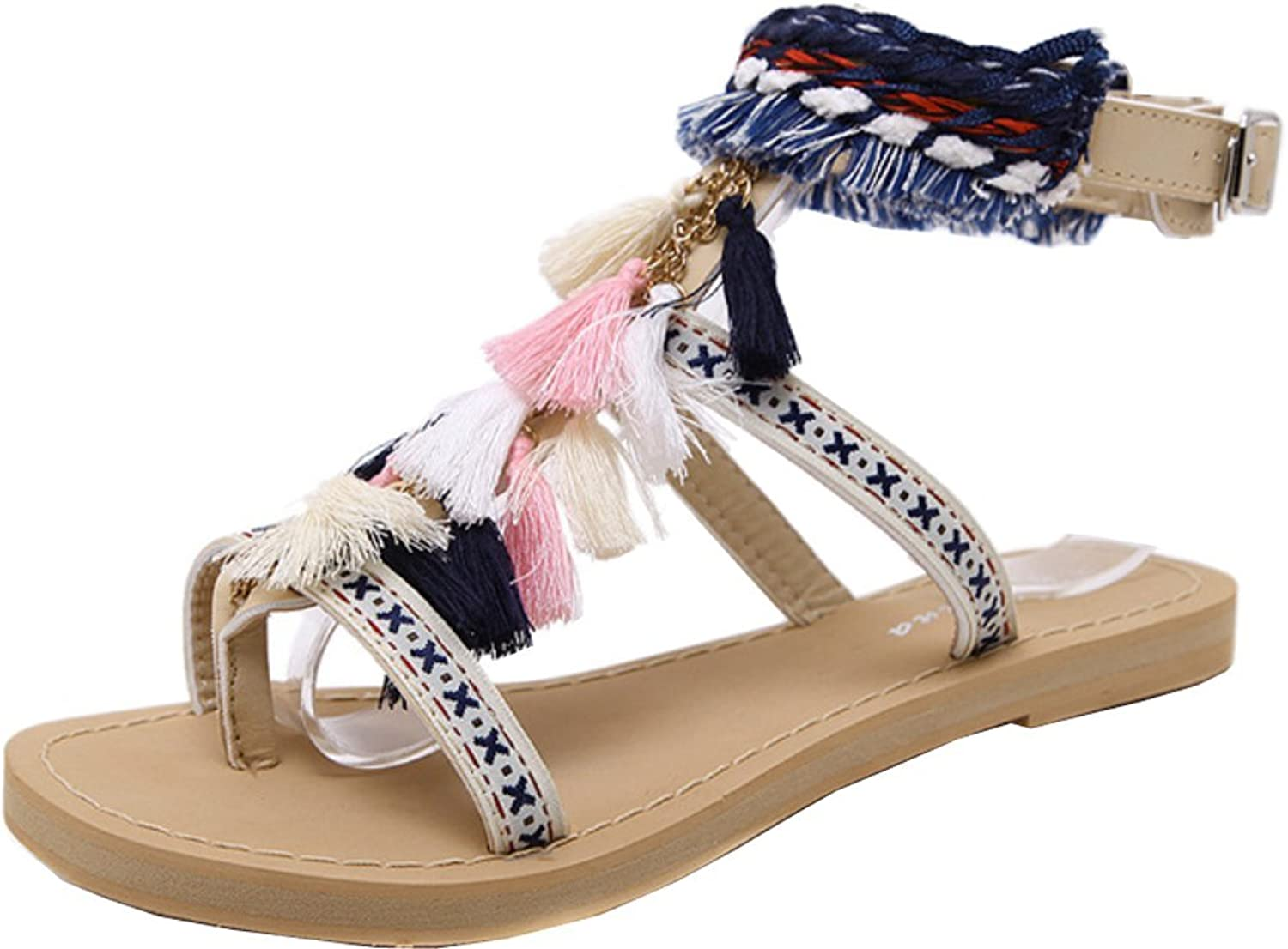 Abby 219 Womens Fashion Comfort Character Retro Ethnic Work Job Casual Flat Flip Flops Ankle Straps PU Sandals