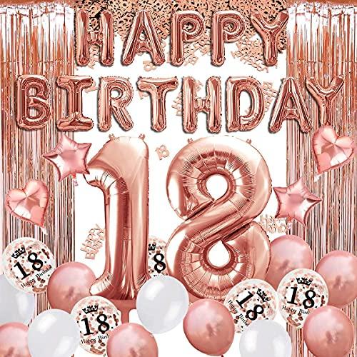 18 Decoraciones De Cumpleaños 18 Años Globos de Cumpleaños de Oro Rosa Cortina de Oro Rosa Globos de Confeti de Látex de Corazón de Estrella de Aluminio Número 18 Globos de Cumpleaños Niñas Mujeres