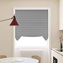 Acholo 3 Pack Grey Cordless Light Filtering Temporary Pleated Fabric Shades Blinds Easy to Install 48
