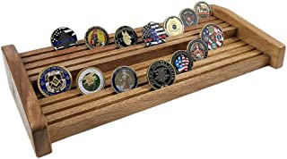 Indeep 8 Rows Challenge Coin Display Military Coin Holder Display Stand Walnut Finish