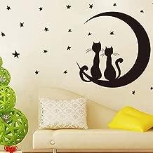 Wallpark Black Romantic Cat Lovers Sitting on Moon Enjoying Stars Moonlights Removable Wall Sticker Decal, Living Room Bedroom Home Nursery Decoration Adhesive DIY Art Wall Mural