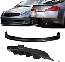 GT-Speed 2X Combo for 03-06 Infiniti G35 Coupe N1 Front + 4-Fin Rear Diffuser PU Bumper add-on Lip (Not Compatible with Sport Bumper)