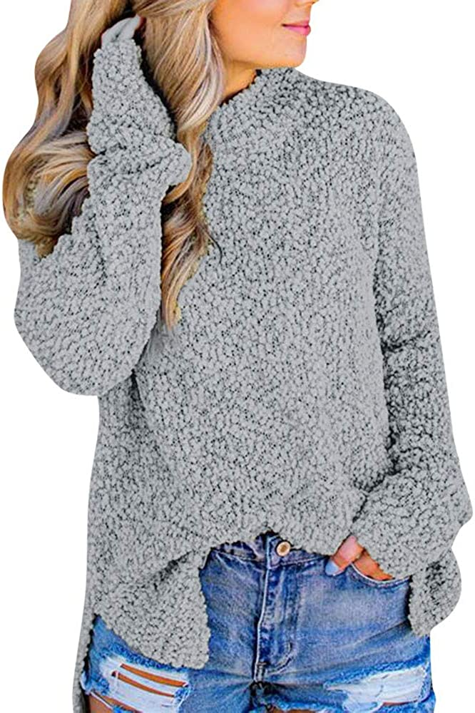 FABIURT Sweaters for Women, Womens Fashion Long Sleeve Turtle Neck Fuzzy Knit Sweater Casual Loose Pullover Jumper Tops