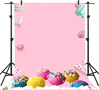 FLASIY Backdrop Colorful Lollipop Candy Photography Backdrops 5X7FT Sweet Macaron Photo Backgrounds for Children Birthday Party Studio Photo Video Shooting Props AYY015