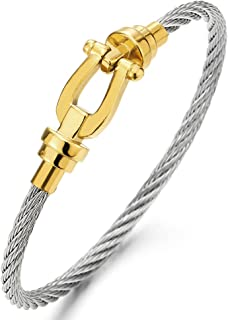 Pulsera De Cuero Acero Inoxidable Cierre de plata encanto del ancla de tono de Diseñador Brazalete