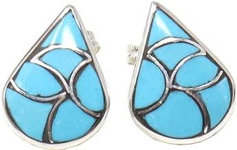 Zuni Channel Inlay Turquoise Tear Drop Stud Earrings Handcrafted By Theresa Leekya