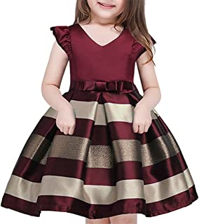 2-10 Years Girls Pageant Stripe Dresses for Easter Christmas Day Halloween Dress