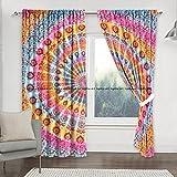 Sophia-Art Exclusiva cortina con diseño de mandala, estilo hippie, para colgar en la pared, puerta o ventana, 2 unidades, estilo tradicional hippie (Multi)