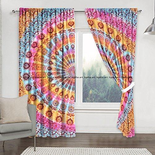 Sophia-Art - Cortina decorativa para colgar en la pared, diseño de mandala, 2 unidades, estilo tradicional hippie, multicolor