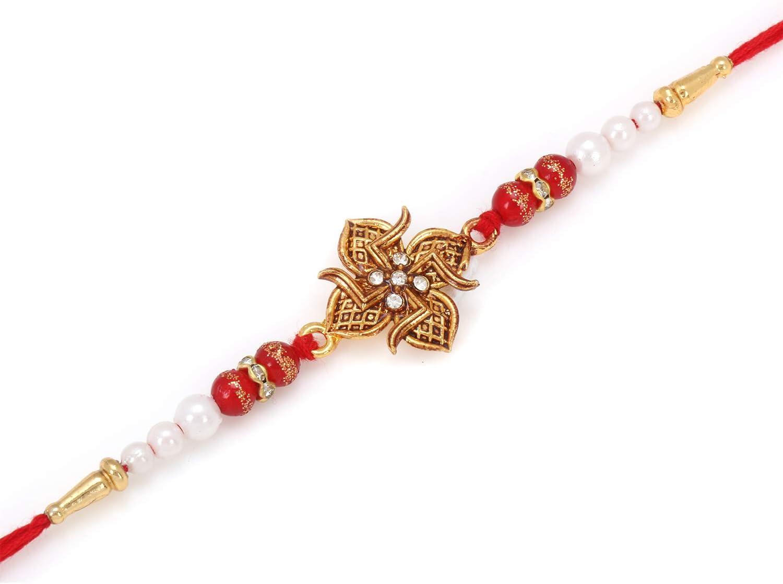 Design 4 Raksha Bhandan Handmade Rakhi Bracelet With Stone Work Kundan Design For Brother Bhaiya Celebration