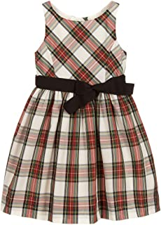 Ralph Lauren Polo Girls Taffeta Plaid Fit & Flare Sleeveless Party Dress (6X)