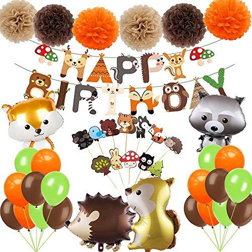 Jimiston 41 Stück Waldtiere Partydekoration Set - Happy Birthday Banner, Woodland Creatures Ballons, Papier Pompoms und Cupcake Toppers für Baby Shower Kindergeburtstag