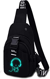 Shoulder Bags Outdoor Messenger Bag with USB Charging Port Student Small Backpack Men's Sports Bag Wallet with Headphone Hole Fluorescent Chest Bag