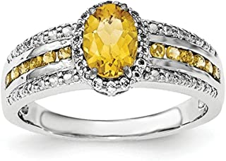 Sterling Silver Citrine and White Topaz Ring - Ring Size Options Range: L to P