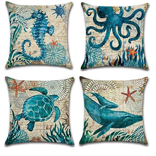 Chezaa 4 fundas de almohada para decoración del hogar, funda de cojín con diseño de animales de mar con cremallera