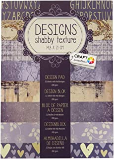 Craft Sensations A5 Paper Printed Design Pad, Designs Shabby Texture, 32 Sheets, 8 Designs, 200gsm