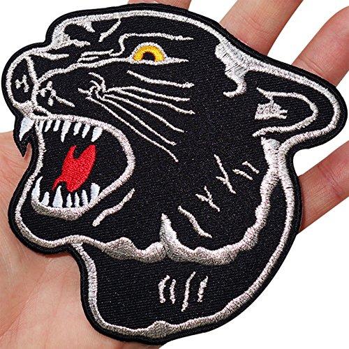 Aufnäher Aufbügler Iron on Patches Applikation Panther Kopf schwarz XXL Back Patch Large