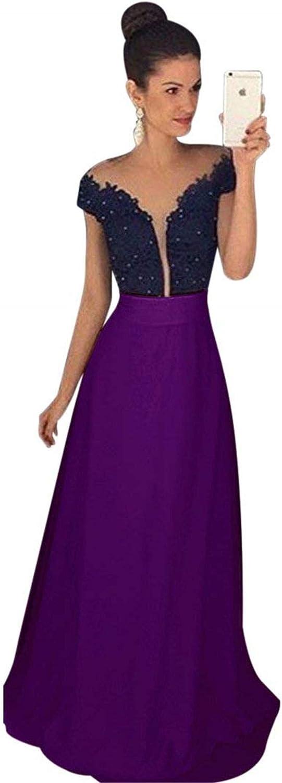 Falydal Women's V Neck Prom Dress Off The Shoulder A Line Party Dress