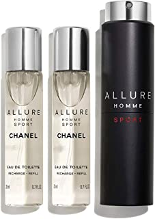 NIB ALLURE HOMME SPORT EAU DE TOILETTE REFILLABLE TRAVEL SPRAY + Free sample gift ONLY from Xpressurself