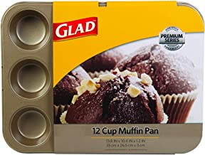 Glad GLD-78025 PAN Non-Stick Premium Series BAKEWARE | 12-Cup for Cupcake, Muffins | 13.8in X 10.4in X 1.2in | Gold