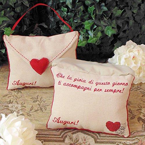 Angelica Home & Country Cuscino con Dedica Auguri Che la Gioia Posta del Cuore