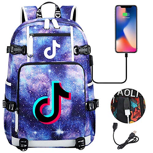 ACJIA Tik TOK Laptop-Rucksack für Teenager-Alter, 17 Zoll Extra Large Travel Rucksack Anti-Diebstahl-College School Bookbag mit USB-Anschluss Aufladen,H