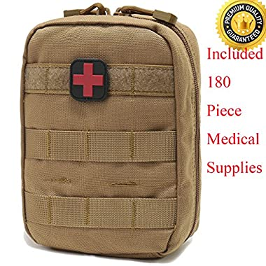 EMT Pouch MOLLE Ifak Pouch Tactical MOLLE Medical First Aid Kit Utility Pouch Carlebben (With Medical Supplies Tan)