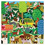 eeBoo's Piece and Love Dogs in Park 1000 Piece Square Adult Jigsaw Puzzle
