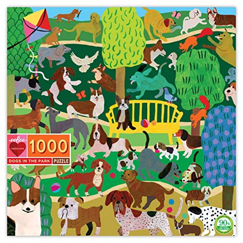 eeBoo Dogs in The Park Jigsaw Puzzle for Adults, 1000 Pieces